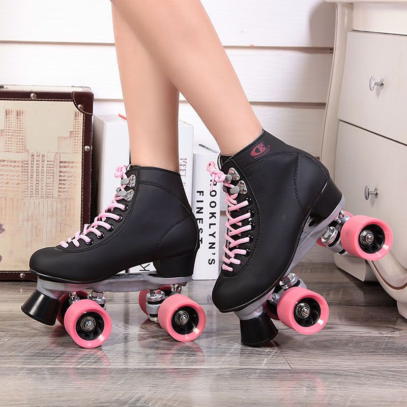 roller skates shoes skating skate retro aliexpress skater double figure leather derby quad automobile race wheels patinaje patines ice female