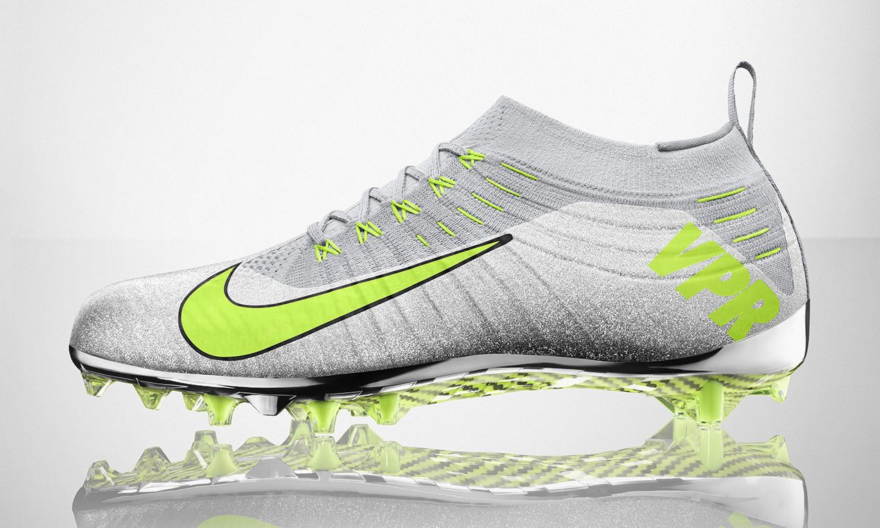 New Nike Vapor Ultimate TD Football Lacrosse Cleats Size 11 Metallic Silver  Volt