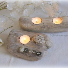 2 bougeoirs en bois flotte a poser d co nature avec for Deco nature creation bois flotte
