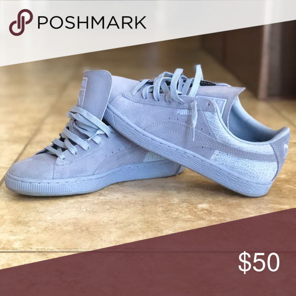 Women s Puma sneakers size 9.5 - worn twice Light blue suede Puma sneakers  Puma Shoes Sneakers 7bcfe0382