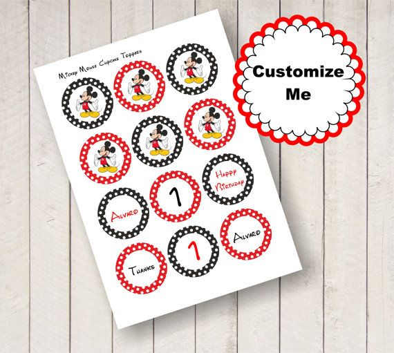 INSTANT DOWNLOAD  2 Editable Mickey Mouse circles to use as cupcake toppers, product or favor labels. They are customizable! Just doublé click on the