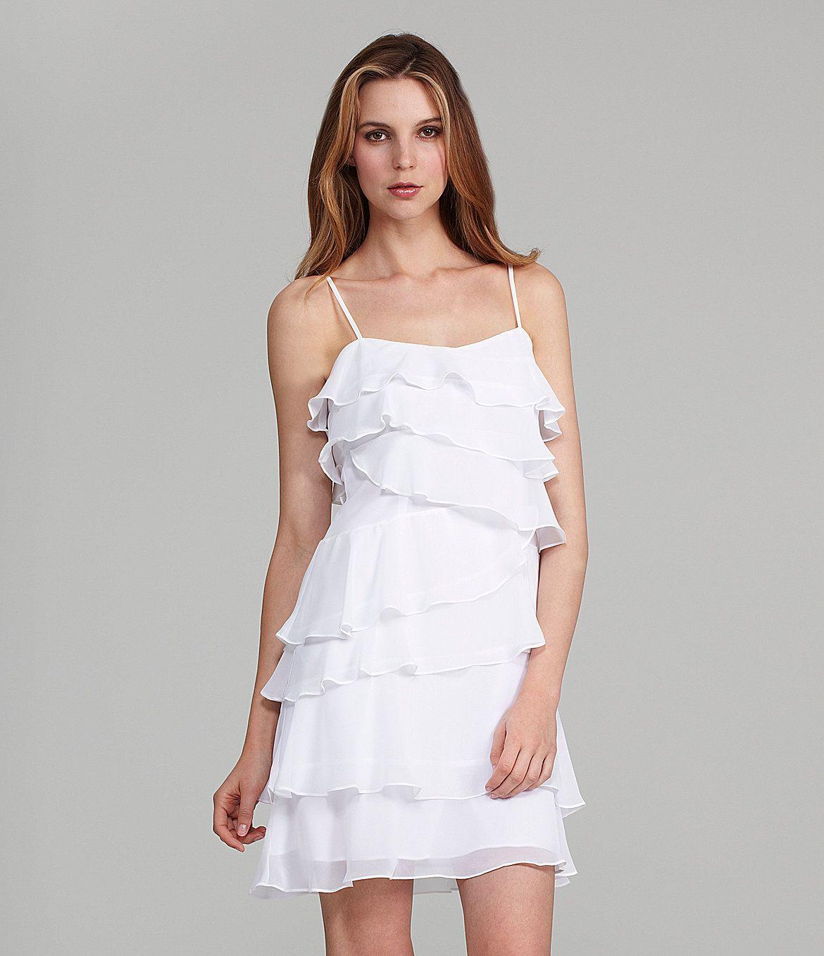 cd2376d9179 Calvin Klein Chiffon Tiered Dress