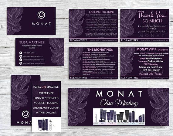 Monat Marketing Kit Custom Monat Business Card Monat Hair Monat Monat Hair Card Design
