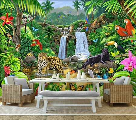 papier peint photo animaux sauvages issu d 39 un tableau d 39 artiste les panth res dans la jungle. Black Bedroom Furniture Sets. Home Design Ideas