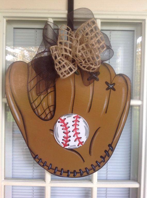 Photo of Items similar to Front door decor, baseball wreath, Baseball glove wooden door hanger on Etsy