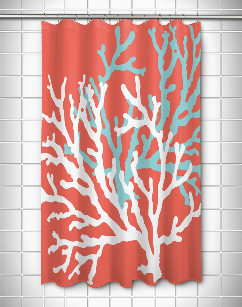 Coral Duo On Coral Shower Curtain Coral Shower Curtains Coastal Bedrooms Nautical Shower Curtains
