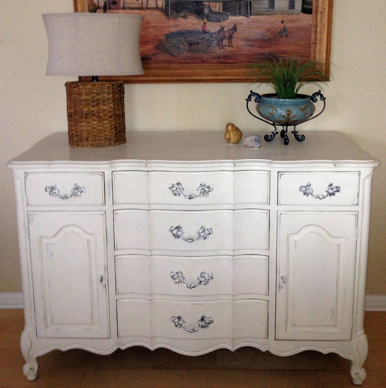 French Country Buffet Dresser Refinished In Annie Sloan Chalk Paint Ebay