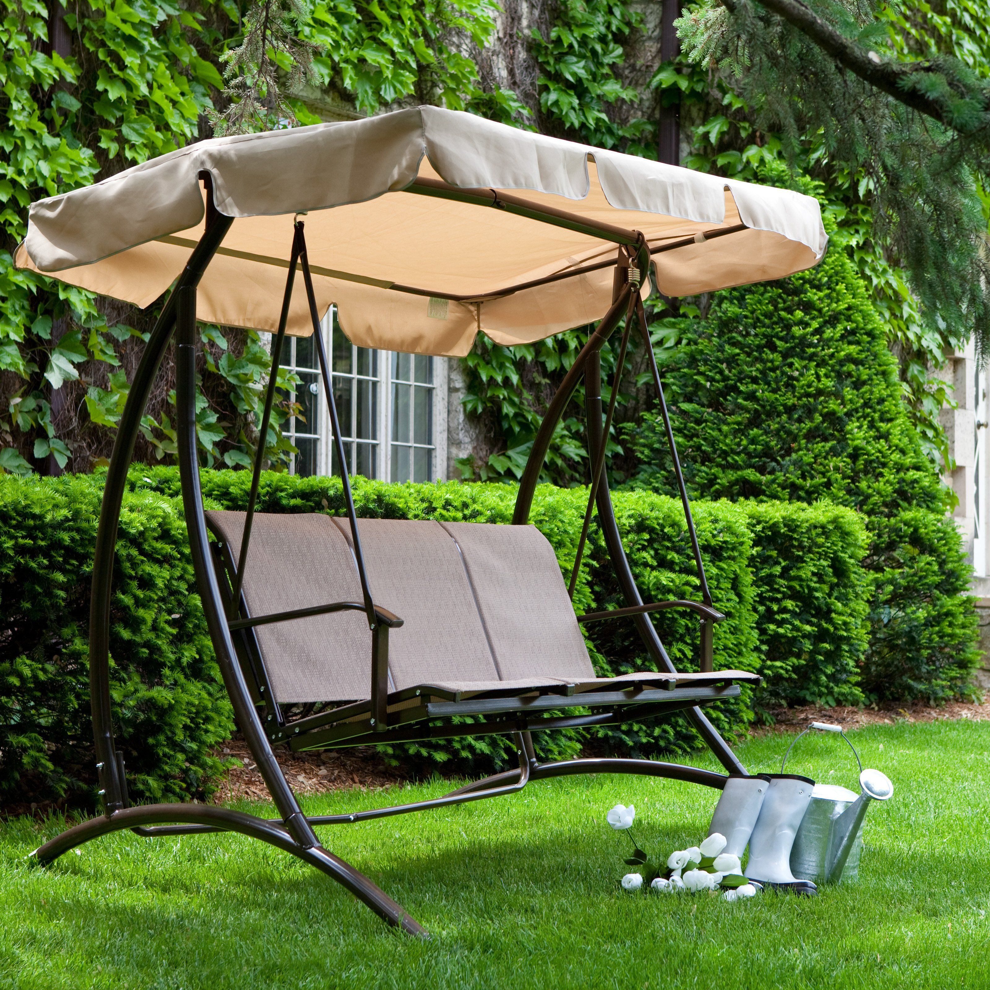 have to have it solano 3 person textilene canopy swing sand