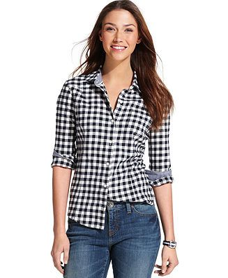 2d1f6db2 Tommy Hilfiger Long-Sleeve Checkered Shirt - Tommy Hilfiger Tops - Women -  Macy's