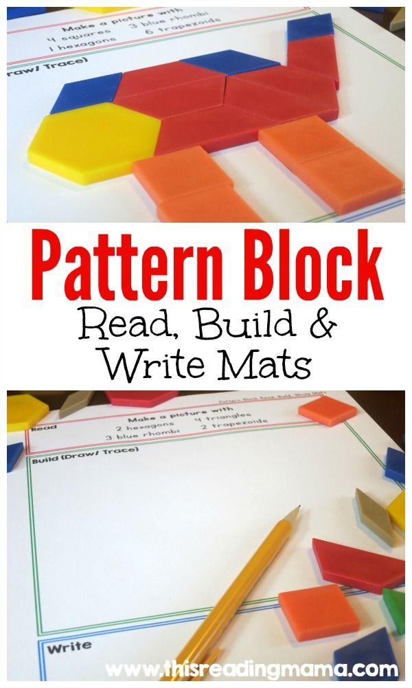 Pattern Block: Read, Build and Write Mats   Pattern blocks, Maths ...