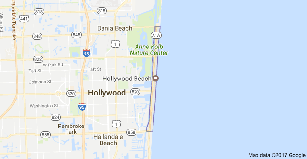 Mapa de Hollywood Beach Hollywood Florida 33019 EE UU  De