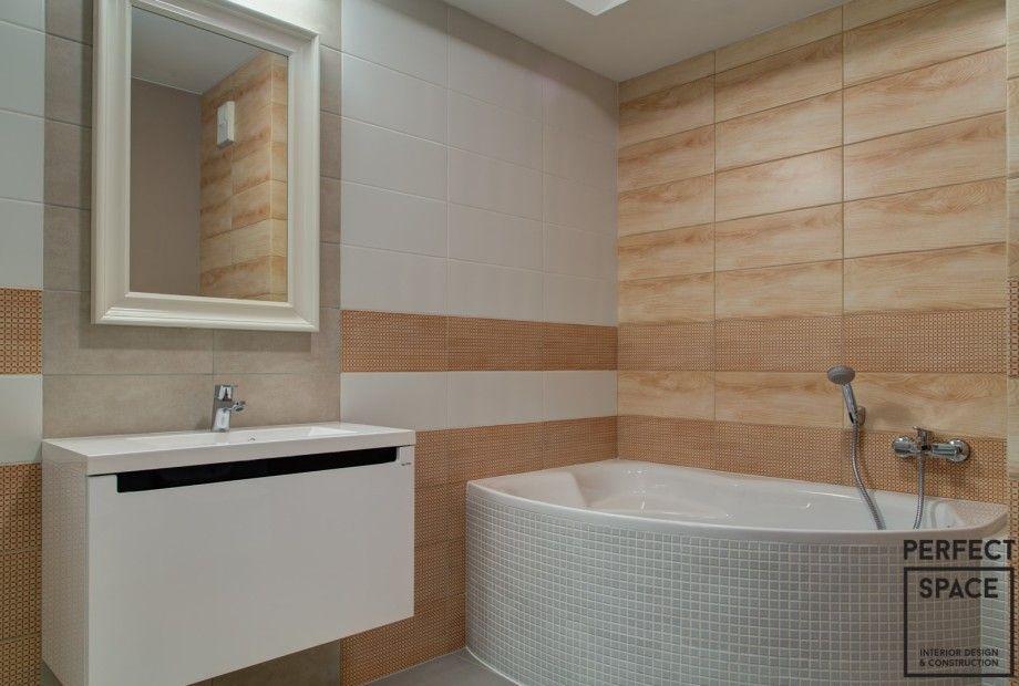 Aranżacja łazienki Z Wanną Narożnikową Beżowo Białe Płytki
