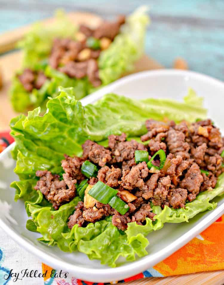 Asian Lettuce Wraps With Ground Beef Low Carb Keto Gluten Free Grain Free Thm S Perfectly In 2020 Keto Beef Recipes Beef Recipes For Dinner Asian Lettuce Wraps