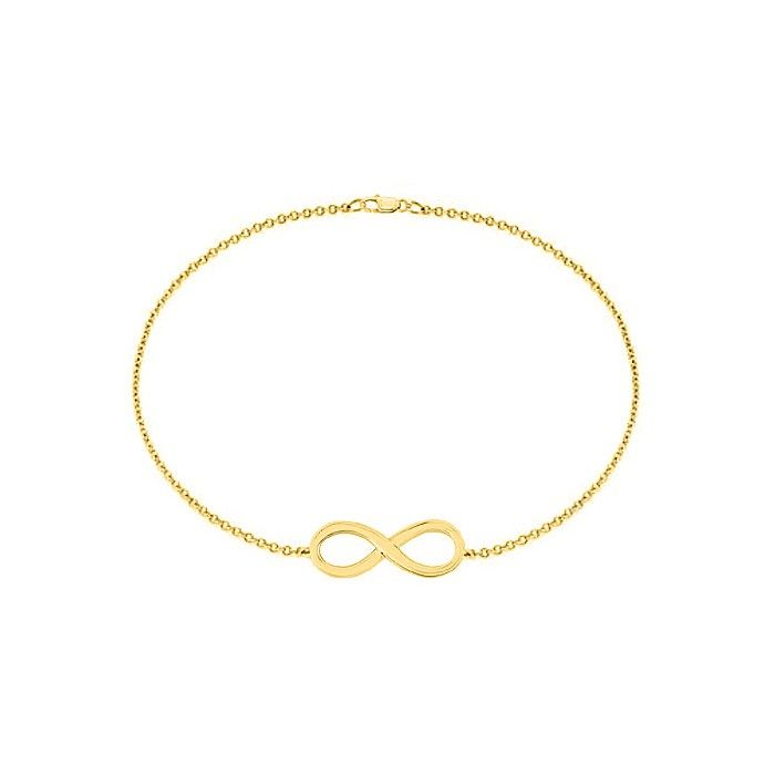 18K Yellow Gold Vermeil Infinity Bracelet in Sterling Silver with 7 Inch Box Chain Bracelet