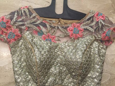 Silver brochade blouse with floral threadwork