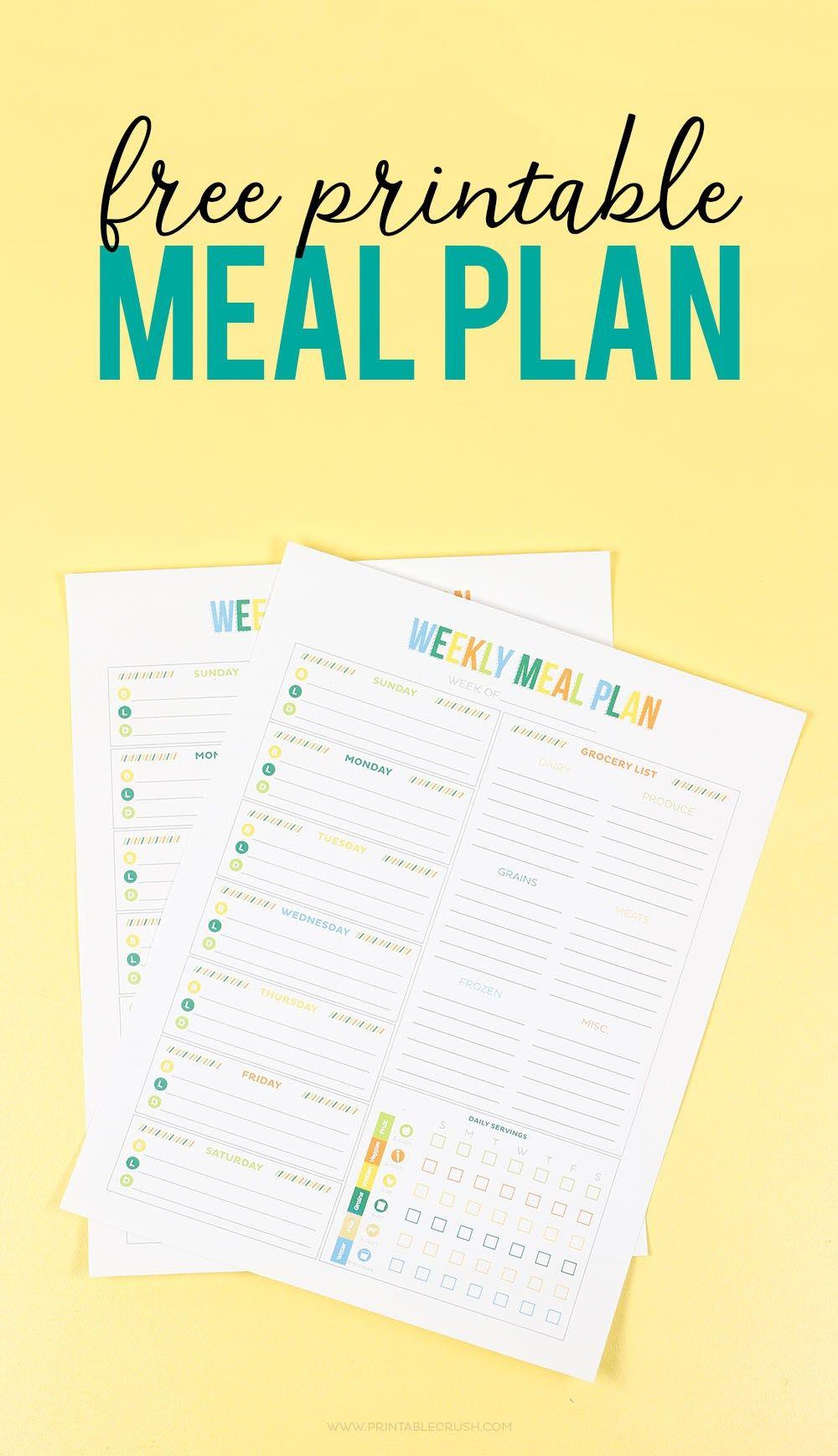 Free printable weekly meal planner weekly meal planner