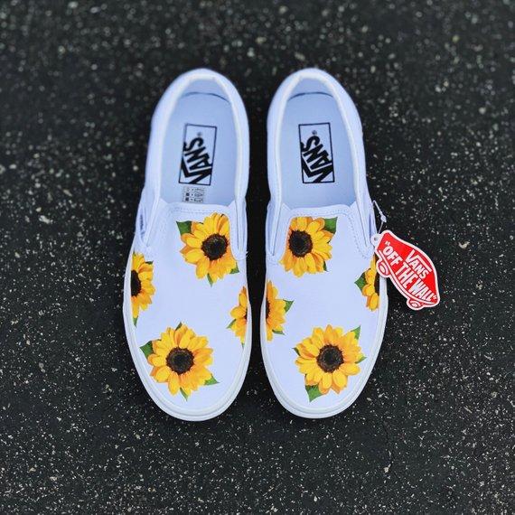 Sunflower Vans Custom Vans Custom Shoes