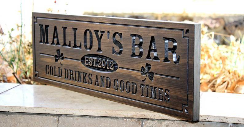 Personalised Bar Sign Any Name Garden Plaque Gift Bar Pub Backyard Bar Sign 15