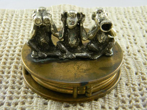 Vintage 3 Monkeys Brass fold out Magnifying by NicksonGarageFinds