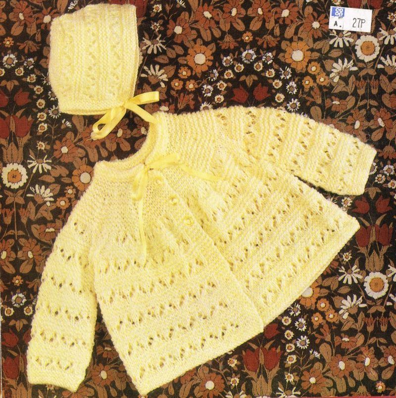 baby matinee coat and hat set vintage knitting pattern PDF | Vintage ...