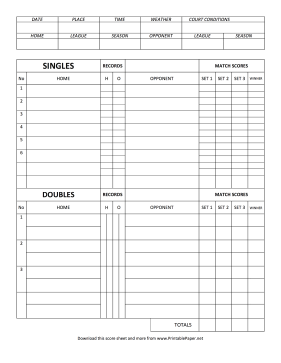 This Tennis Score Sheet Can Be Used To Record Singles Or