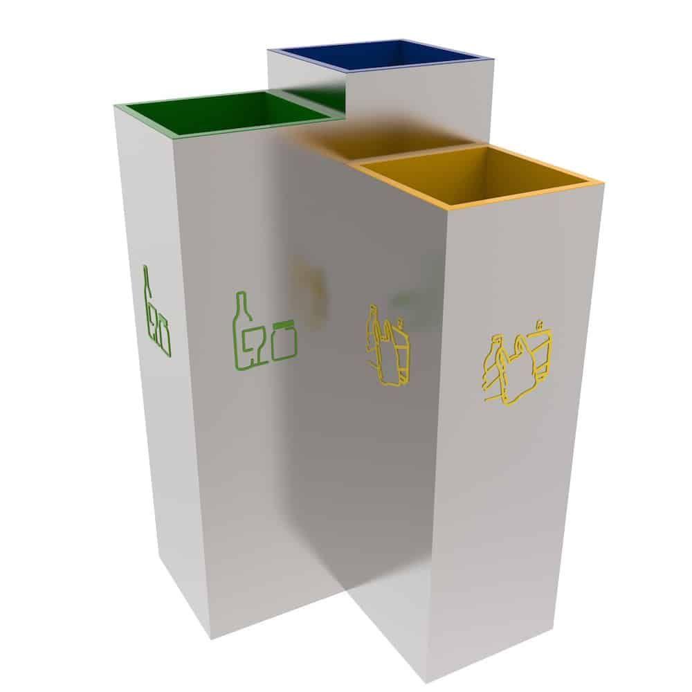 Bergen Poubelle Tri Inox 3 Compartiments Tri Des Dechets Office