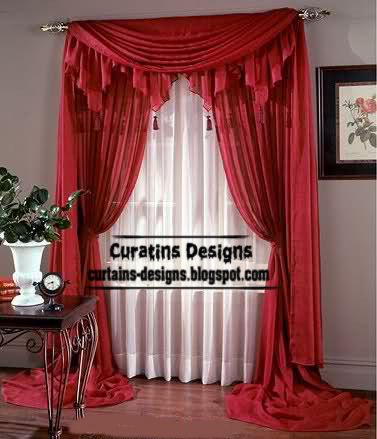 Contemporary Red Curtain Design With Valance Long Style