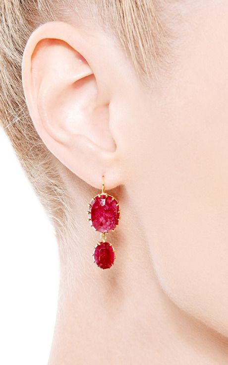 One Of A Kind Natural Ruby Earrings By Renee Lewis For Preorder On Moda Operandi