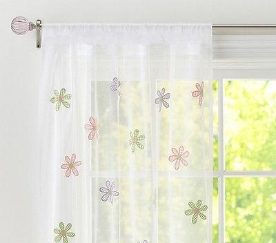 2 Panels Pair Pottery Barn Kids Gingham Daisy Sheer Pole Pocket Panel Curtains Panel Curtains