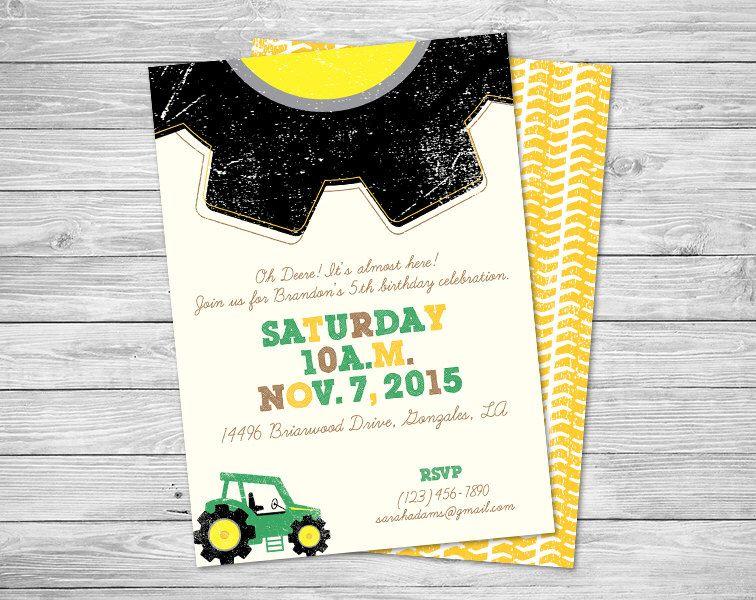 Tractor Party Invitations + Envelopes Birthday Digital