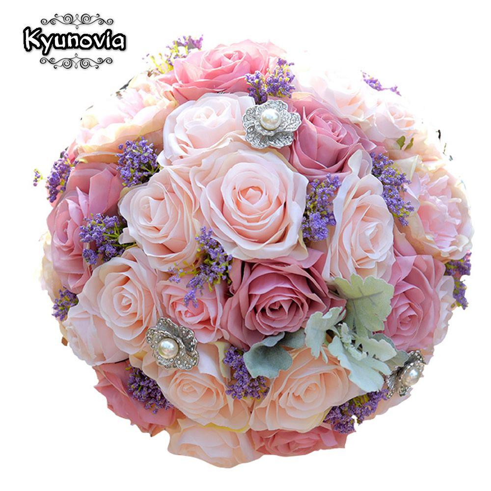 Kyunovia Wedding <font><b>Bouquet</b></font> de flores Artificiales ...