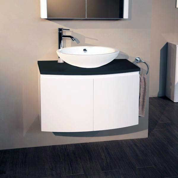 Attractive Voss™ 810 Wall Mounted Black Countertop Vanity Unit