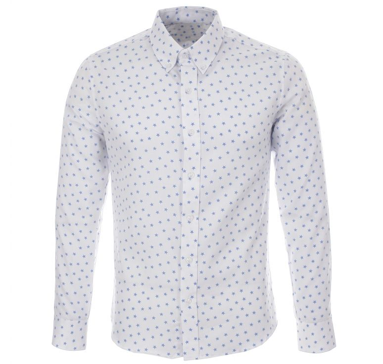 mens-slim-fit-star-pattern-printed-long-sleeve-white-casual-shirts ...