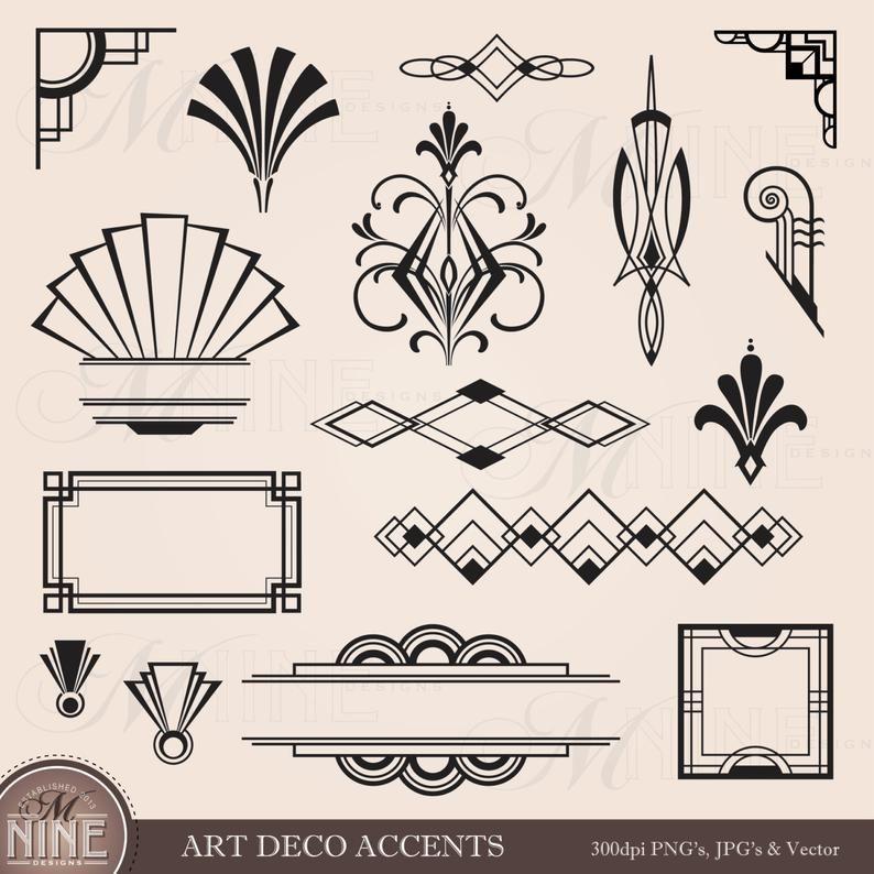Digital Clipart Art Deco Design Elements Frames Borders Etsy In 2021 Art Deco Pattern Art Deco Tattoo Art Deco Wallpaper