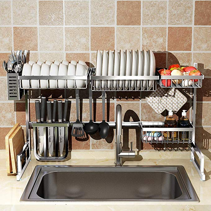 Amazon Com Over Sink 32 Dish Drying Rack 2 Cutlery Holders Drainer Shelf For Kitchen Supplies Storage C Dish Rack Drying Kitchen Space Kitchen Space Savers