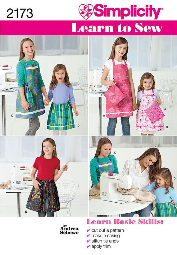 Great pattern to teach a beginner how to read a pattern.  Simple, useful, and cute.  Simplicity 2173 Learn to Sew Child's Apron Pattern by ucanmakethis