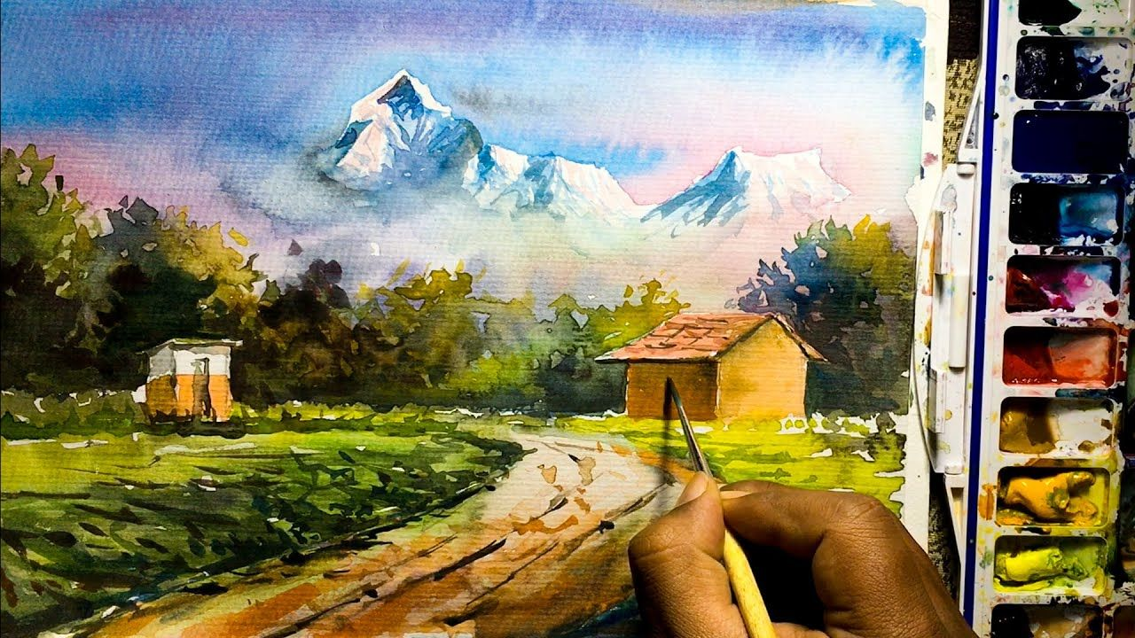 Beautiful Mountain Village Scenery Painting Watercolor Nature