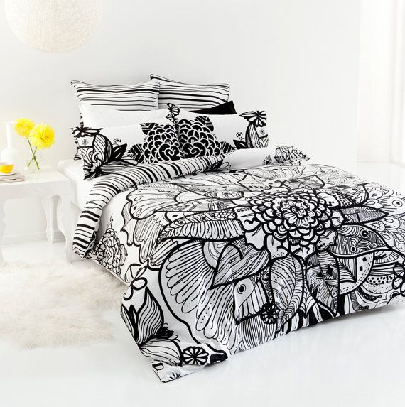 Queen size Tribal Flower printed black and by SuperCheapLinen, $99.00