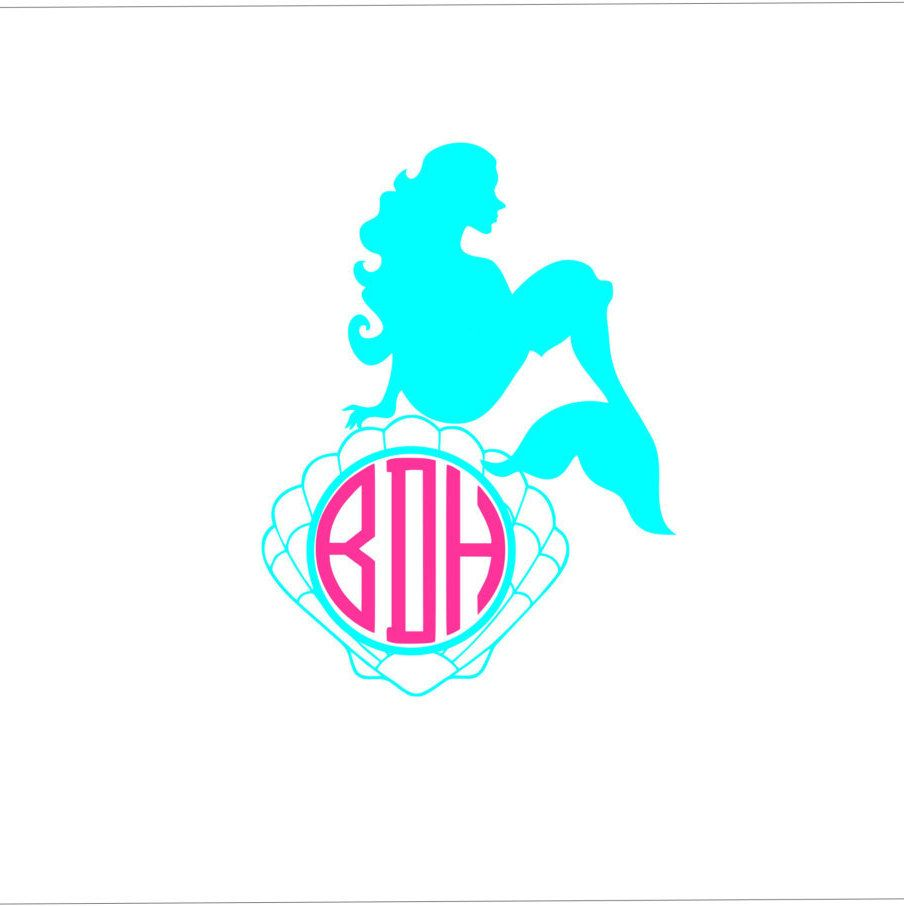Custom Circle Monogram Mermaid And Shell Woman Decal Waterproof - Mermaid custom vinyl decals for car