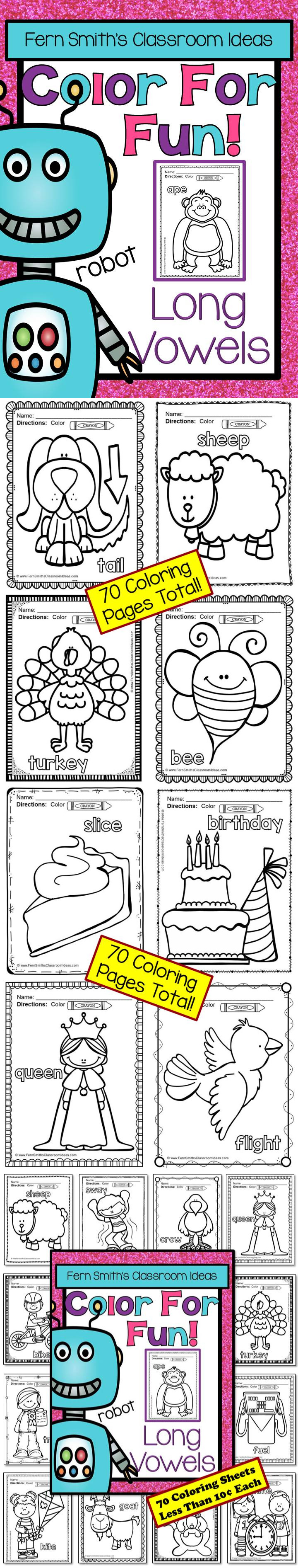 Long Vowels Coloring Pages - 70 Pages of Long Vowel ...
