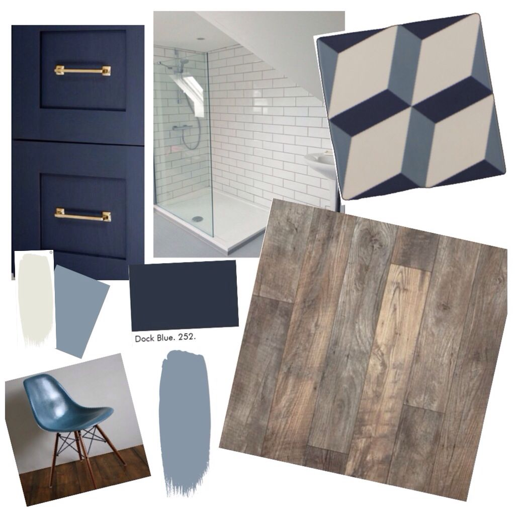 Ensuite: Little Greene Dock blue vanity unit, Little Greene James on walls, Little Green French grey pale, soho blue cube tile from tile mountain, wood effect floor tiles, metro tiles in shower, blue eames chair.                                                                                                                                                                                 More