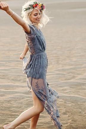 2c9c6d031f3 Preorder - Bardot Lace Maxi Romper - Dusty Blue