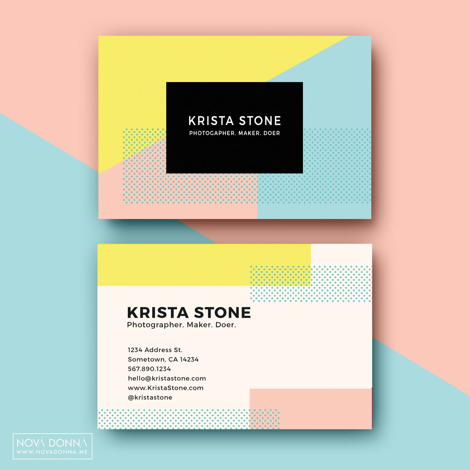 business card template designs pop geometric