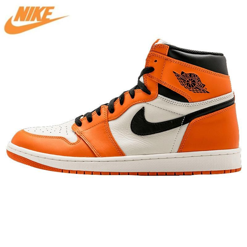 Nike Air Jordan 1 Retro High OG AJ1 White Orange White Rebound Men s  Basketball Shoes 5736b71cc