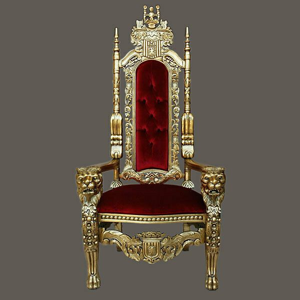 Stunning Rococo King Lion Chair In Burgundy Velvet With Gold Leaf Frame 70 H Baroque King Chair Throne Chair Tall Chairs