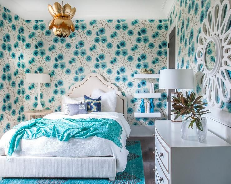 Aqua Blue And White Bedroom resplendent aqua blue girl's bedroom is clad in harlequin kabala