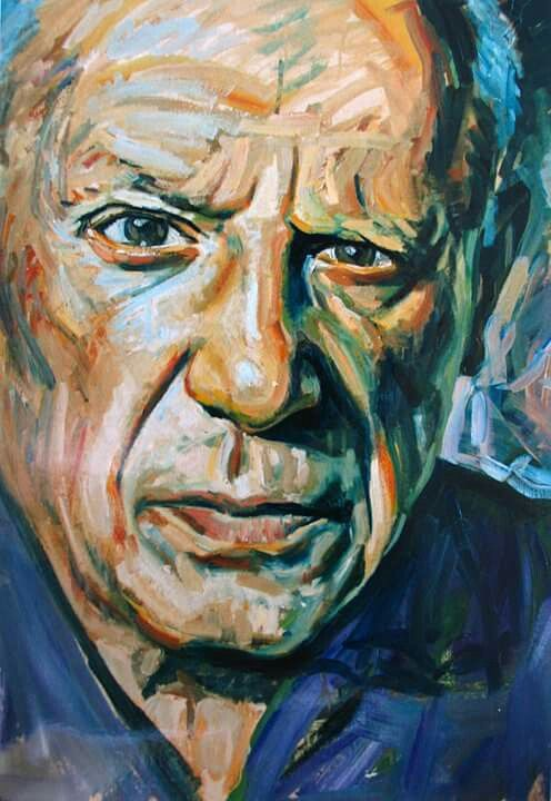 Pablo Picasso oil painting on thick paper... by Asef ...