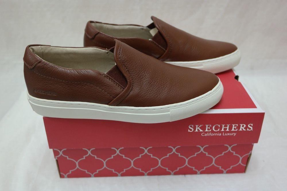 6f2f6dbaa36 New Womens Skechers VASO Full Grain Leather Sneaker Style 48865 Cognac W78  rt | eBay
