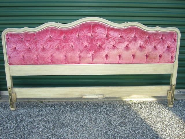 Fabulous Regency Hollywood Glam Tufted Kingsize Hot Pink Velvet Headboard Modern