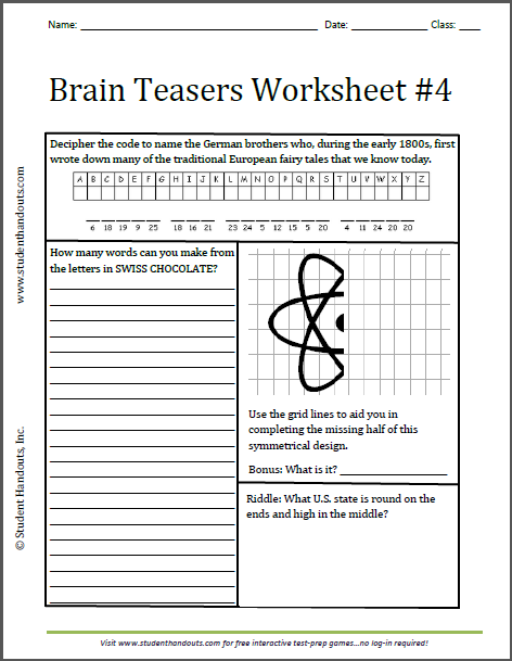math worksheet : brain teasers worksheet 4  free to print grades 3 and up  k  : Brain Teasers For High School Students